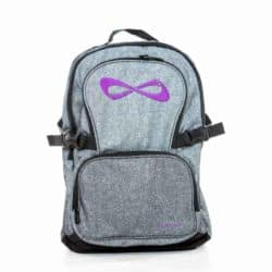Nfinity PETITE Grey Sparkle Purple Logo Backpack