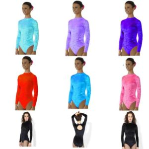 Crushed Velvet Turtle Neck Long Sleeve Leotard with Keyhole