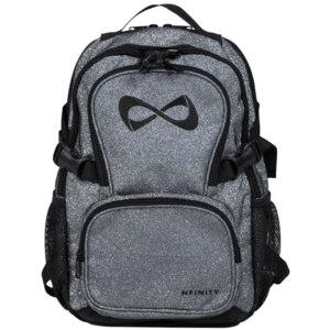 Nfinity PETITE Grey Sparkle Black Logo Backpack