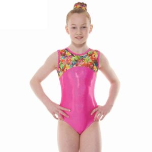 Pink Tropical Fantasy Shine Lycra Sleeveless Gymnastic Leotard