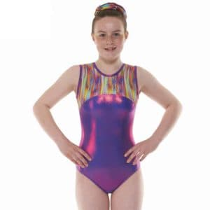 Purple Streaky Rainbow Shine Lycra Sleeveless Gymnastic Leotard