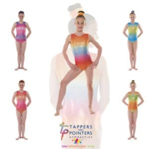 Ombre Hologram Shine Nylon Lycra Sleeveless Gymnastic Leotards